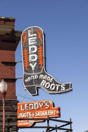 worth: FORT WORTH, USA - APR 6: Leddy Hand Made Cowboy Boots Shop in the Fort Worth Stockyards historic district. April 6, 2016 in Fort Worth, Texas, USA