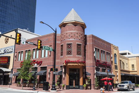 worth: FORT WORTH, USA - APR 6: The Cheesecake Factory building downtown in Fort Worth. April 6, 2016 in Fort Worth, Texas, USA Editorial