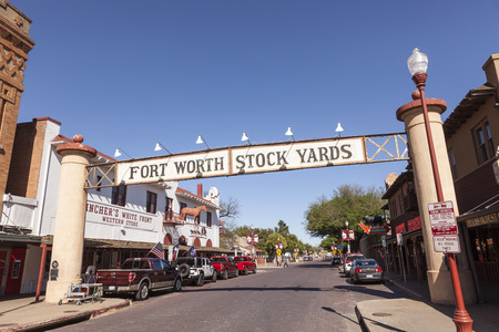 fort worth: FORT WORTH, USA - APR 6: Street in the Fort Worth Stockyards historic district. April 6, 2016 in Fort Worth, Texas, USA