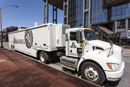 worth: FORT WORTH, USA - APR 6: Coors light beer delivery truck in the city of Fort Worth. April 6, 2016 in Fort Worth, Texas, USA