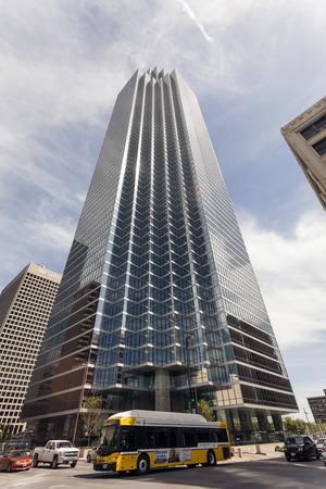 bank of america: DALLAS, USA - APR 7: The Bank of America Plaza skyscraper building in the Dalls downtown district. April 7, 2016 in Dallas, Texas, United States