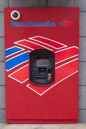 bank of america: DALLAS, USA - APR 8: Red Bank of America ATM. April 8, 2016 in Dallas, Texas, United States