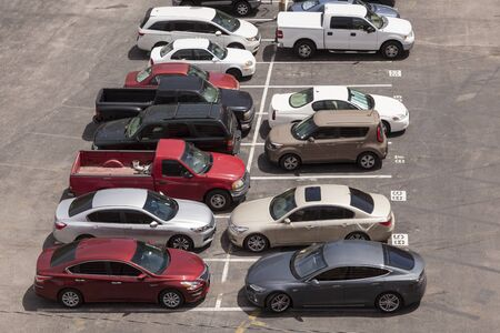 autos: Aerial view of a parking lot in the city