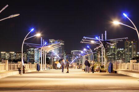 continental united states: DALLAS, USA - APR 8: The Continental Avenue pedestrian Bridge illuminated at night. April 8, 2016 in Dallas, Texas, United States Editorial