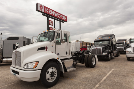chassis: DALLAS, USA - APR 9: New Kenworth T270  flatbed truck chassis at the dealership. April 9, 2016 in Dallas, Texas, United States