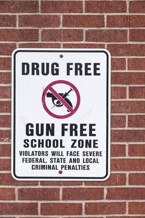 Drug Free and Gun Free School Zone sign in Dallas. Texas, United States