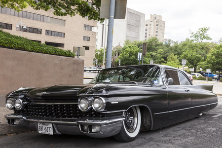AUSTIN, USA - APR 10: Black 1960 Cadillac Eldorado Seville Coupe in the city of Austin. April 10, 2016 in Austin, Texas, United States Editorial