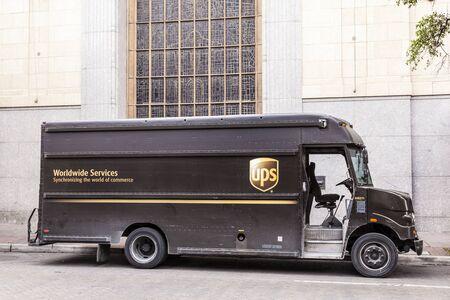 SAN ANTONIO, USA - APR 11: United Parcel Service Delivery Truck in the city of San Antonio.  April 11, 2016 in San Antonio, Texas, United States