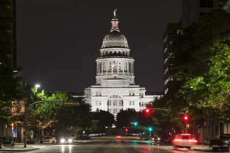 Texas State Capitol building in Austin illuminated at night. Texas, United States