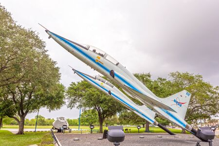 talon: HOUSTON, USA - APR 12: Two Northrop T-38 Talon supersonic jet trainers at the Johnson Space Center in Houston. April 12, 2016 in Houston, Texas, United States