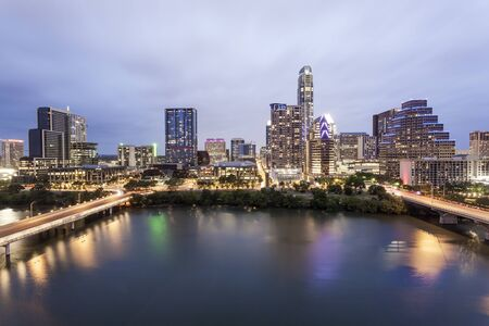 View of Austin downtown illuminated at night. Texas, United States
