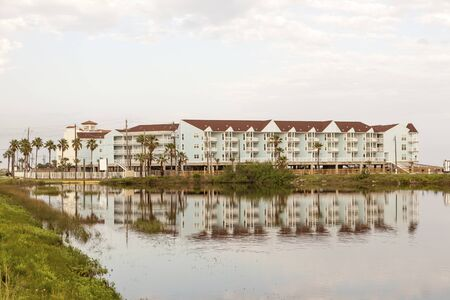 gulf of mexico: Vacation condominiums building at the Gulf of Mexico in Galveston Island. Texas, United States Stock Photo