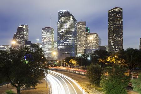 Houston downtown skyline illuminated at night. Texas, United States