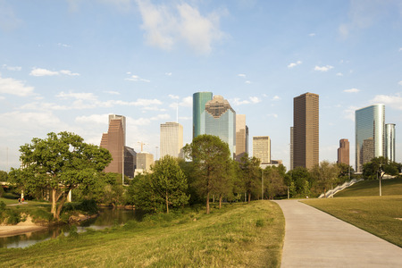 city park skyline: Houston downtown skyline from the city park. Texas, United States
