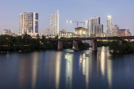 Austin city illuminated at night. Texas, United States