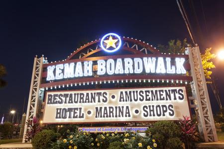 KEMAH, TX - APR 14: Kemah Boardwalk entrance sign illuminated at night. April 14, 2016 in Kemah, Texas, United States