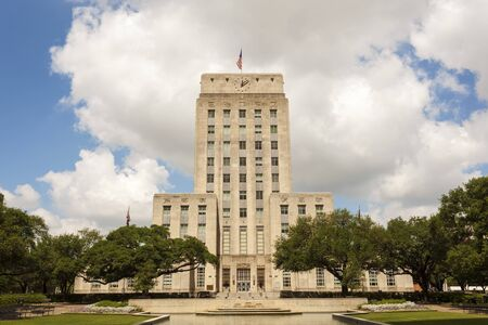 houston flag: Houston City Hall building with fountain and flag. Texas, United States Editorial