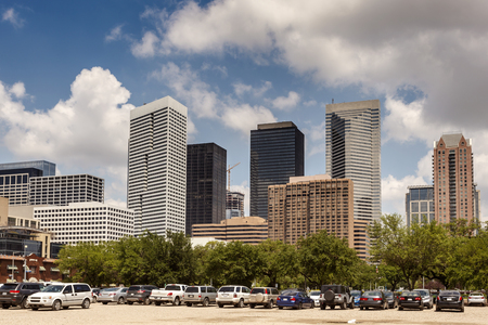 Parking lot in Houston downtown district. Texas, United States Stock Photo