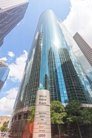 HOUSTON, USA - APR 14, 2016: Skyscrapers at the Well Fargo Plaza in Houston Downtown district. Texas, United States