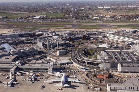 LONDON, UK - APR 20, 2016: Aerial view of the London Heathrow international airport. Hillingdon, England, United Kingdom.