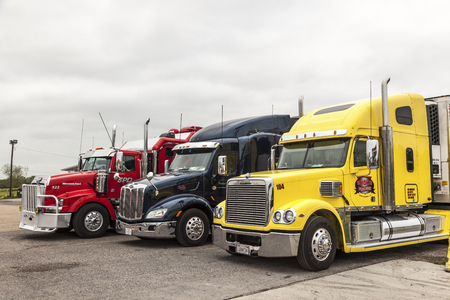 freightliner: NEW ORLEANS, LA, USA - APR 17, 2016: Freightliner, Peterbilt and Western Star trucks at the parking lot in Louisiana, United States