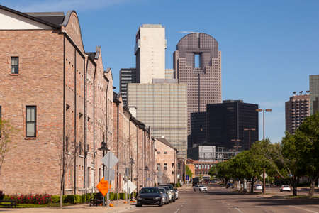 residential market: Residential buildings at the Farmers market square in the city of Dallas, Texas, United States Stock Photo