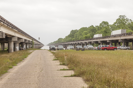 bayou: Elevated Interstate 10 highway west of New Orleans. Louisiana, United States