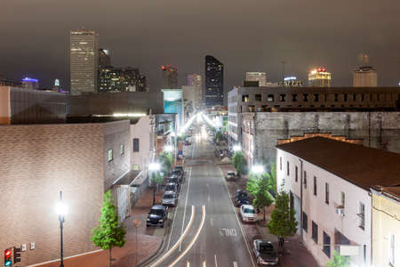 Street in the city of New Orleans illuminated at night. Louisiana, United States Stock Photo - 61503713