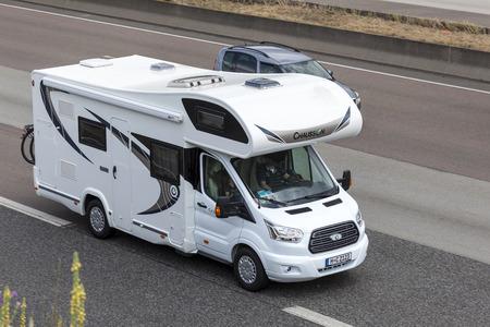 recreational vehicle: FRANKFURT, GERMANY - JULY 12, 2016: Chausson Recreational Vehicle driving on the highway in Germany