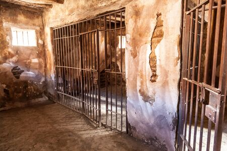 iron barred: Interior of an old abandoned prison