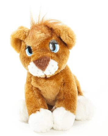 leon bebe: Baby lion soft toy isolated over white background Foto de archivo