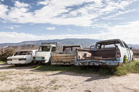 Old abandoned cars in the desert