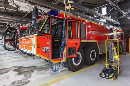 accident fire truck: FRANKFURT, GERMANY - JULY 24, 2016: Modern fire trucks at the airport Fire Department in Frankfurt Main International Airport