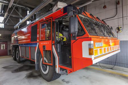 accident fire truck: FRANKFURT, GERMANY - JULY 24, 2016: Modern fire truck at the airport Fire Department in Frankfurt Main International Airport