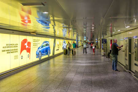 underground passage: FRANKFURT, GERMANY - JULY 24, 2016: Underground passage from Terminal II at the Frankfurt International Airport