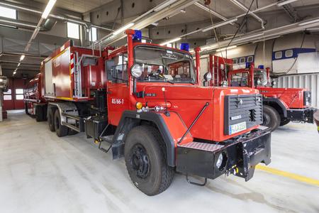 accident fire truck: FRANKFURT, GERMANY - JULY 24, 2016: Fire trucks at the airport Fire Department in Frankfurt Main International Airport