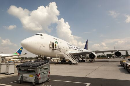 FRANKFURT, GERMANY - JULY 24, 2016: Saudia Cargo Boeing 747 at the Frankfurt International Airport
