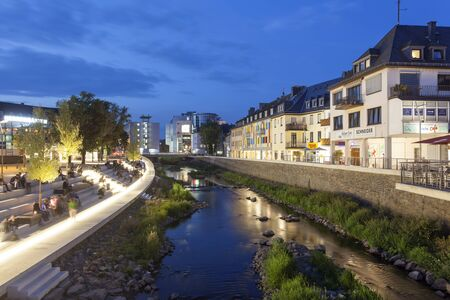 rhine westphalia: SIEGEN, GERMANY - SEP 1, 2016: New waterfront promenade at the Sieg river in the city of Siegen at night. North Rhine Westphalia, Germany Editorial