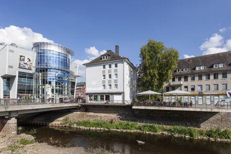 rhine westphalia: SIEGEN, GERMANY - SEP 1, 2016: River Sieg running through the city of Siegen. North Rhine Westphalia, Germany
