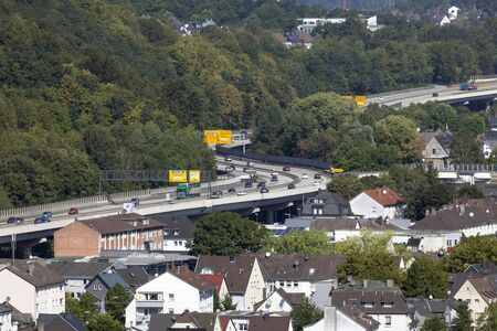 rhine westphalia: SIEGEN, GERMANY - SEP 8, 2016: Highway B54 running through the city of Siegen. North Rhine Westphalia, Germany