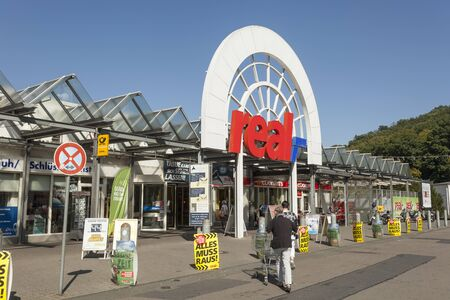 sep: SIEGEN, GERMANY - SEP 8, 2016: REAL hypermarket store in the city of Siegen. North Rhine Westphalia, Germany