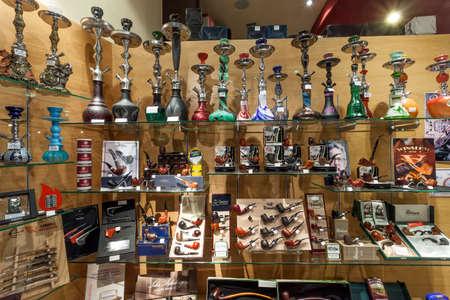 rhine westphalia: SIEGEN, GERMANY - SEP 1, 2016: Smoking pipes and tobacco shop n the city of Siegen. North Rhine Westphalia, Germany