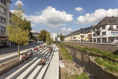 rhine westphalia: SIEGEN, GERMANY - SEP 1, 2016: New waterfront promenade at the Sieg river in the city of Siegen. North Rhine Westphalia, Germany