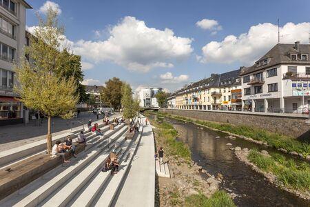 sep: SIEGEN, GERMANY - SEP 1, 2016: New waterfront promenade at the Sieg river in the city of Siegen. North Rhine Westphalia, Germany