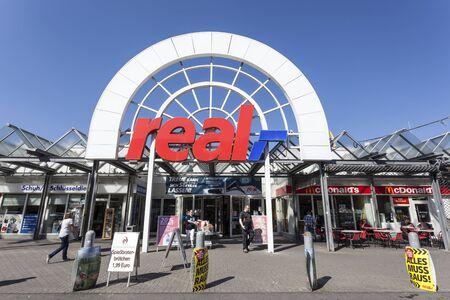 rhine westphalia: SIEGEN, GERMANY - SEP 8, 2016: REAL hypermarket store in the city of Siegen. North Rhine Westphalia, Germany