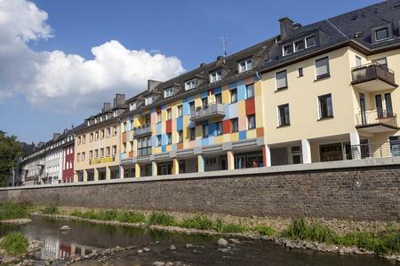 rhine westphalia: SIEGEN, GERMANY - SEP 1, 2016: Waterfront buildings at the river Sieg in the city of Siegen. North Rhine Westphalia, Germany
