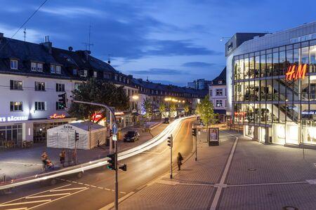 rhine westphalia: SIEGEN, GERMANY - SEP 1, 2016: Street  in the city of Siegen at night. North Rhine Westphalia, Germany Editorial