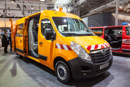 Hannover, Germany - Sep 23, 2016: New Opel Movano crew cab van presentation at the IAA Commercial Vehicles 2016 International Trade Fair