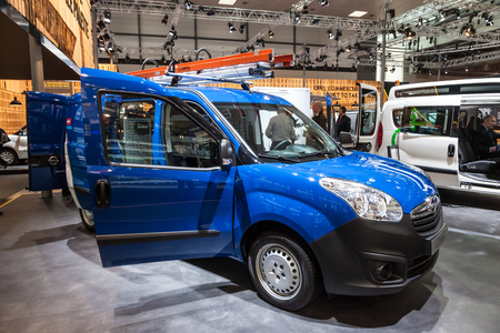 Hannover, Germany - Sep 23, 2016: New Opel Combo Van at the IAA Commercial Vehicles 2016 International Trade Fair
