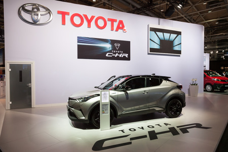 chr: Hannover, Germany - Sep 23, 2016: Toyota presents the new C-HR Crossover SUV at the IAA 2016 in Hannover, Germany Editorial